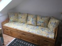 Stompa daybed and wardrobe, all pine