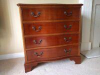 Multi York four draw Serpentine chest in Yew wood