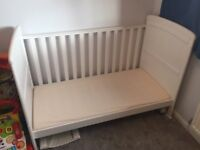White cot bed with changer
