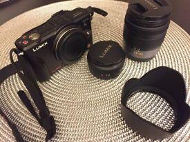 Panasonic Lumix GF2 Digital Camera with 14mm & 14-42mm Lenses - Black