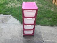 Pink 4 Drawer Plastic Storage Unit