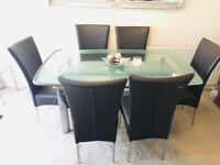 Glass dining table & ONLY 4 BROWN LEATHER CHAIRS