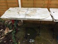 Marble tops and cast iron table bases for sale