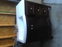 """brown 36"""" bathroom vanity with faucet and sink"""