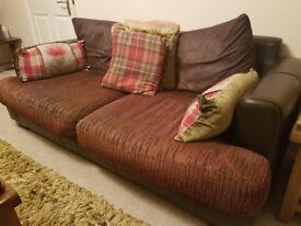 Brown corner sofa and matching 3 seater sofa