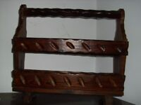 Vintage carved wooden magazine rack