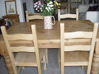 Quality lovely chunky family dining farmhouse pine table ,4 chairs, great for shabby chic project.