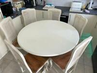 Cream round table & 6 chairs