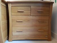 Mamas and Papas Ocean changing table/chest of drawers in solid oak