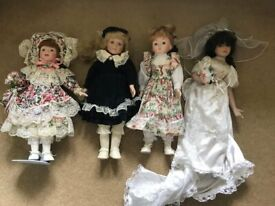 Four Dolls For Sale With FREE Stands!