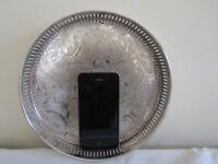 ANTIQUE CIRCULAR SILVER PLATE ON COPPER GALLERIED SERVING DRINKS TRAY- SHEFFIELD