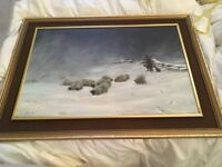 Signed Sutton original oil painting Shepard herding his sheep in Yorkshire winter snow scene