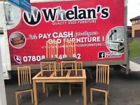 Solid oak wood dining room table with black granite insert & 6 chairs-matching sideboard £159