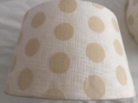 Pair of cream dotted lampshades