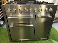 Lovely Mercury 1000 Range cooker Double oven stainless Steel and Matching Hood