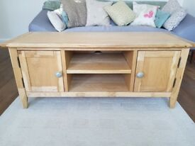 Solid oak tv unit with Anthropologie handles