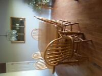 Mennonite solid oak harvest table with 6 chairs