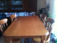 Almost new Beech kitchen table and four chairs
