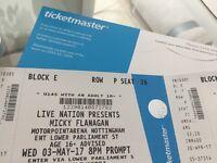 2x Micky Flanagan tickets - Nottingham 3rd May