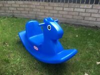 Blue little tikes rocking horse