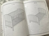 Mamas & Papas convertible cot and toddler bed, under storage & mattress x 2 *Great for Twins*
