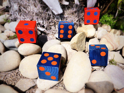 1 Jumbo Lawn Yard Wood DICE Broncos Gators Pepperdine Blue Orange Yahtzee,Bunco