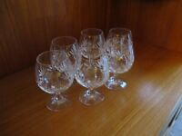 Cut glass brandy glasses