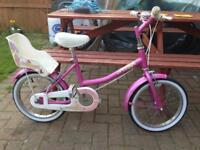 """Girls bike Raleigh 11""""frame 16""""wheels"""