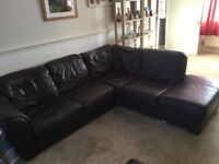 Brown corner sofa available for pick up only.