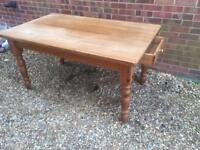 Solid chunky pine dining table with drawer