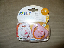Brand new unopened Avent dummies 0-6mths and 6-18mths.