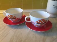 Cath Kidston Toadstool Mushroom cup and saucers