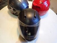 3 motorcycle helmets Shuberth C2, Shuberth R1, Arai RX-7 GP