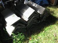 24 grey ridge tiles for slate roof bargain only £25 for the lot