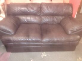 3 seater and 2 seater dark brown sofas