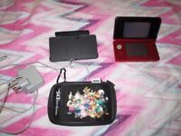 RED 3DS CONSOLE,CHARGING CRADLE,CHARGER,CASE