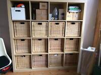 Ikea Expedit birch veneer with 12 Branäs rattan boxes
