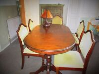 Extendable, Quality Dark Wood Dining Table + 6 Matching Chairs Upholstered in Green (Velour?) Fabric
