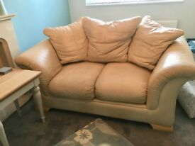 Two seater sofa, chair and footstool.