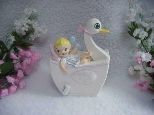 Vintage RELPO Baby Boy Planter -#814 - 6 Inches High-Baby Holding Rattle