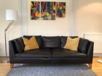 Brown full grain leather. 3- seat leather sofa. Excellent condition. Ikea Stockholm