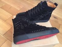 4a0b740506c1 Christian Louboutin Black Suede Spikes Unisex Mens Women s Boys Girls  Trainers Loubs Various Sizes