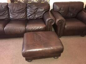 Leather vintage three piece suite