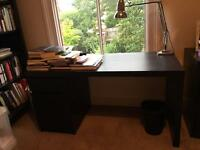IKEA MALM writing / office desk, black w/ drawer - assembled & in excellent condition - 140x65 cm