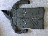 Girls New Look Long Padded/Hooded Dark Green Coat Age 10-11