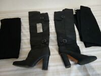 Pre-owned women's black leather high heel boots - excellent condition - size 37/4