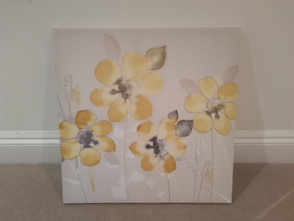 Next Home Canvas Art Picture Yellow And Grey Flowers In Leamington