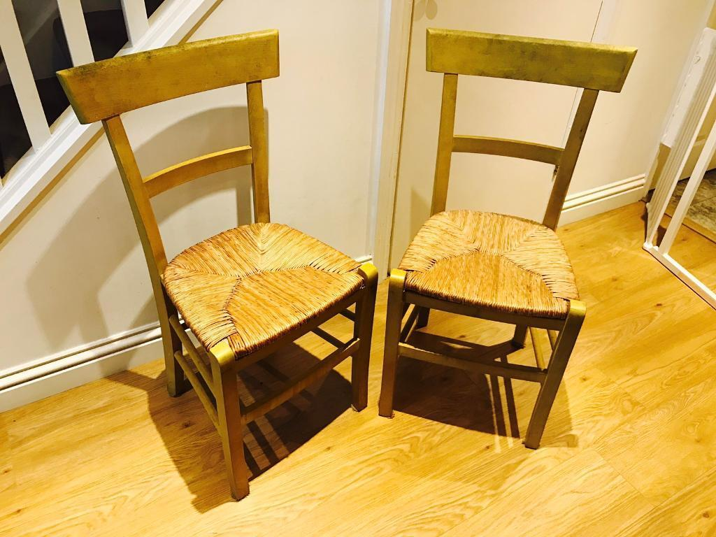 2 x Yellow dining chairs