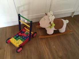 £7 for both childrens building blocks walker and raindeer rocking horse