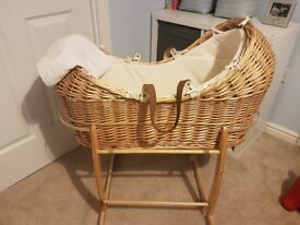 Mothercare 'snug' moses basket and rocking stand